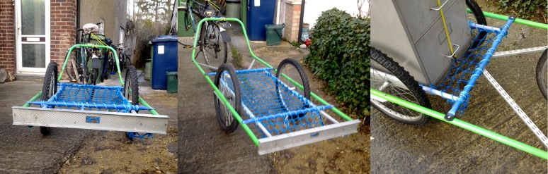 Three views of the Play Frame bike trailer
