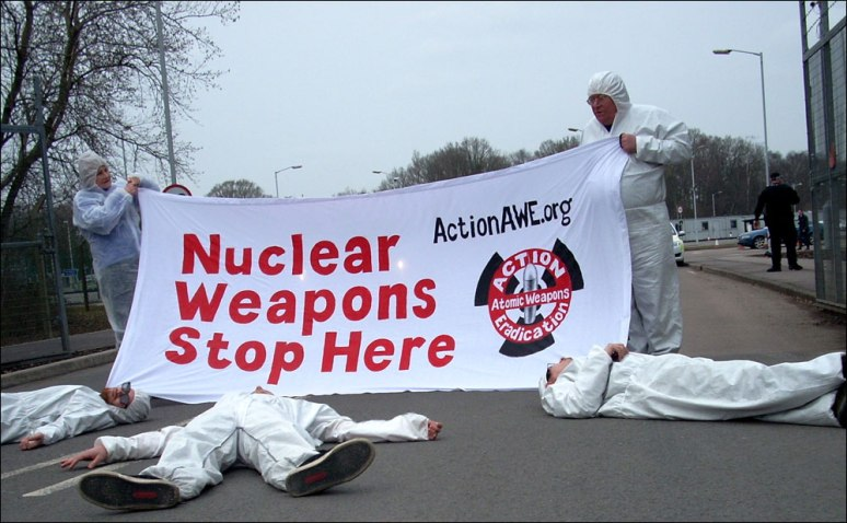AAWE banner at a gate blockade in April 2013