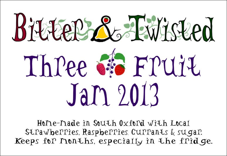 Bitter n Twisted 3-fruit jam label