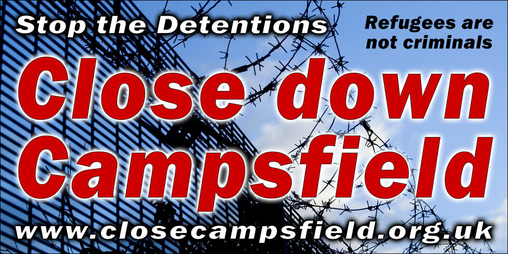 Close Down Campsfield banner, printed by Seacourt, 2007