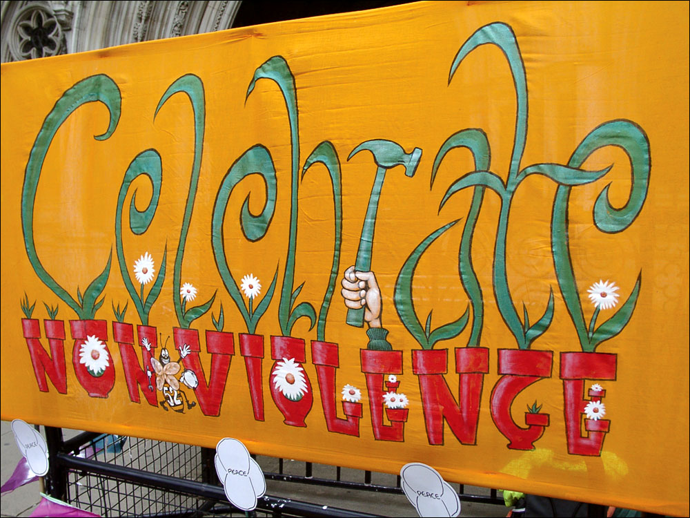 """""""Celebrate non-violence"""" banner for the B52 two, 2003"""
