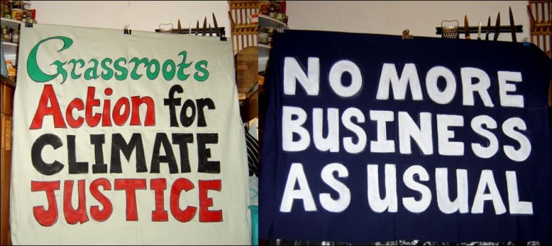 climate Justice banners 2009
