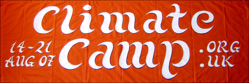 Small banner for the Camp for Climate Action, 2007