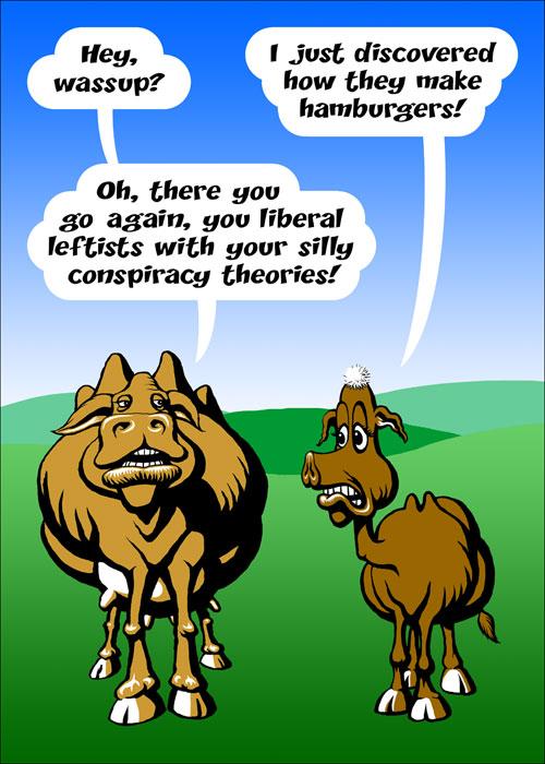 Cow-worry - cartoon based on an idea I heard in a speech from Michael Parenti