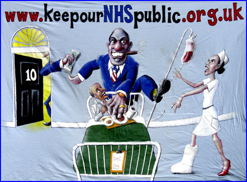 Banner for the campaign to Keep Our NHS Public, around 2006