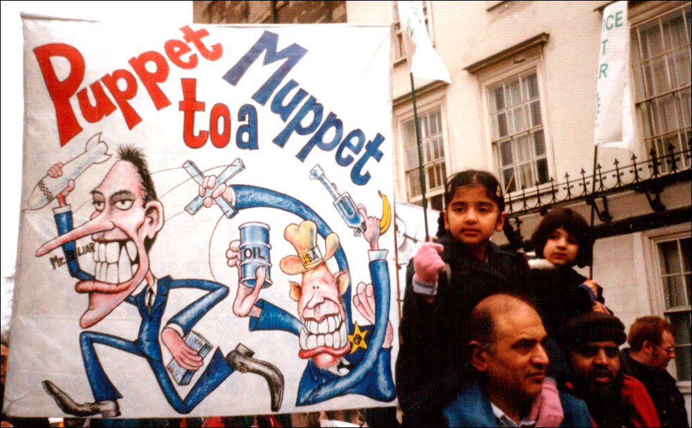 """""""Puppet to a Muppet"""" - banner for one of the many Oxford marches against the war on Iraq, 2003"""