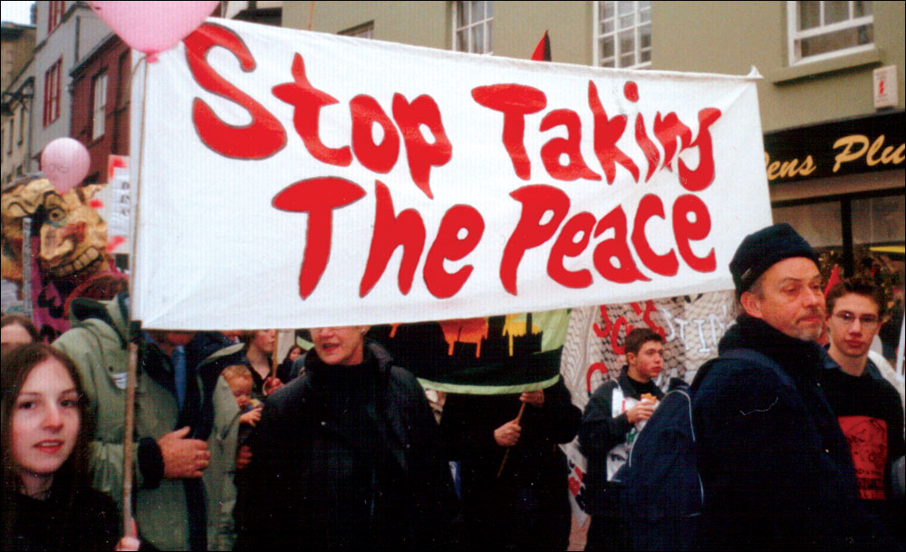 """""""Stop taking the Peace"""" banner against the War on Iraq, 2003"""