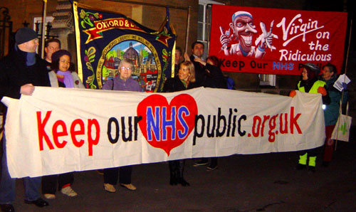Banners for the campaign to Keep our NHS Public, and to block Virgin from privatising part of the NHS, around 2007