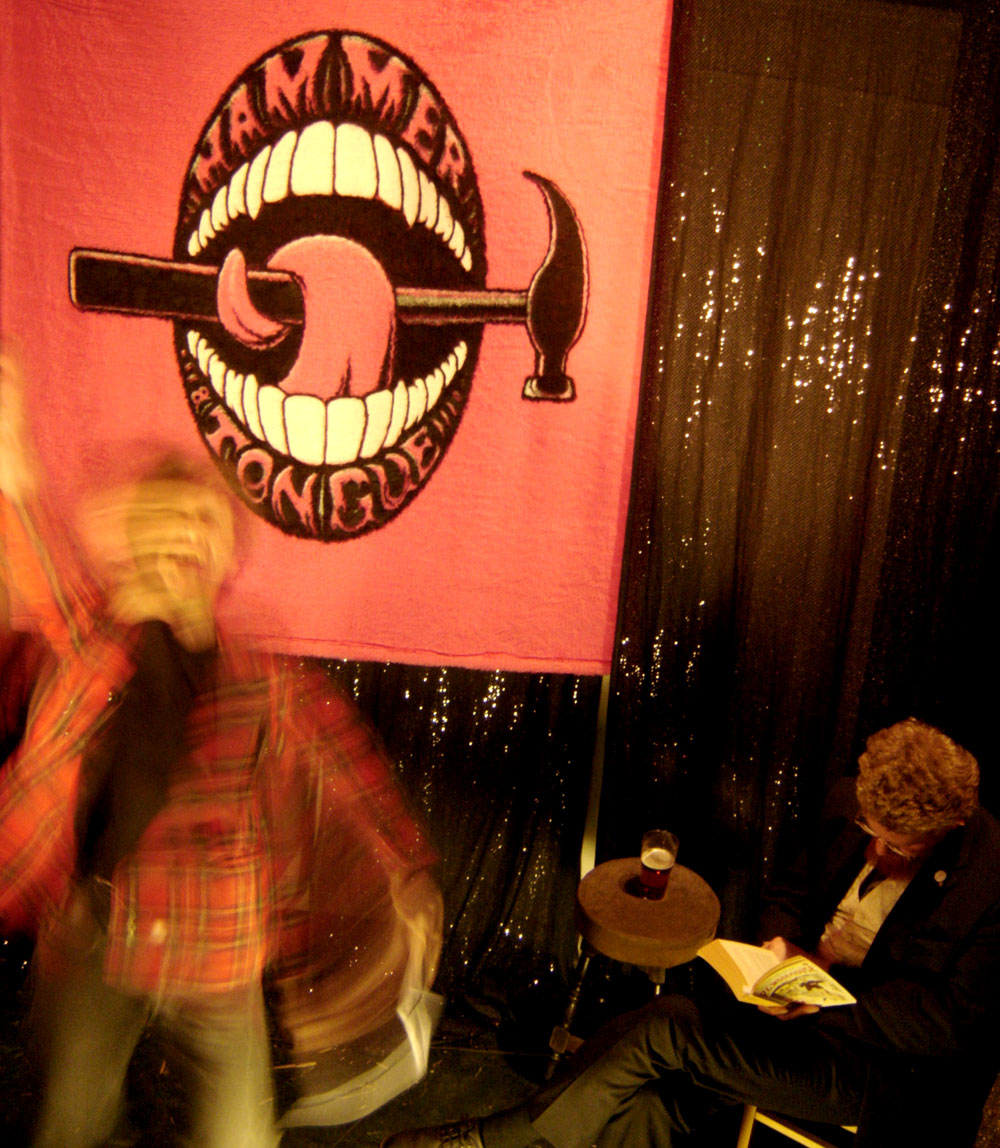 Hammer & Tongue banner at the Live Literature Area in 2006